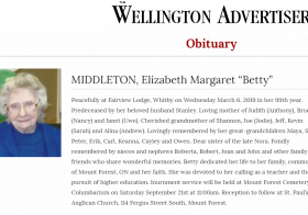 Obituary: Margaret Elizabeth Stelfox Middleton
